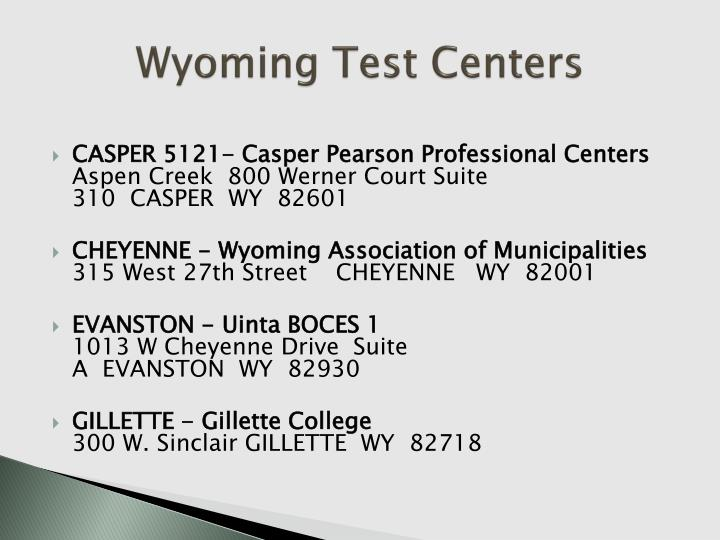Wyoming Test Centers