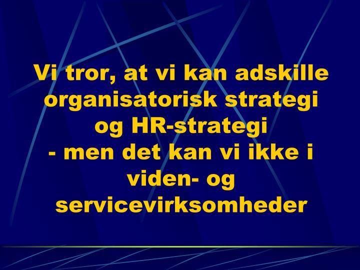 Vi tror, at vi kan adskille organisatorisk strategi og