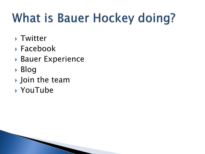 What is bauer hockey doing