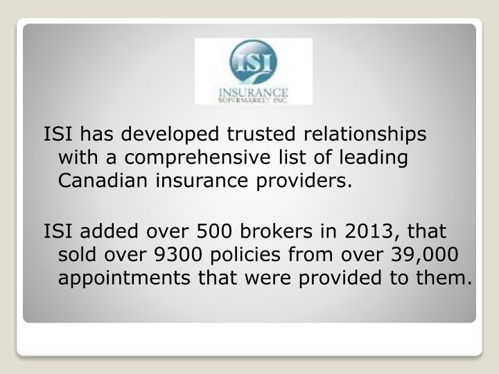 ISI has developed trusted relationships with a comprehensive list of leading Canadian insurance providers.