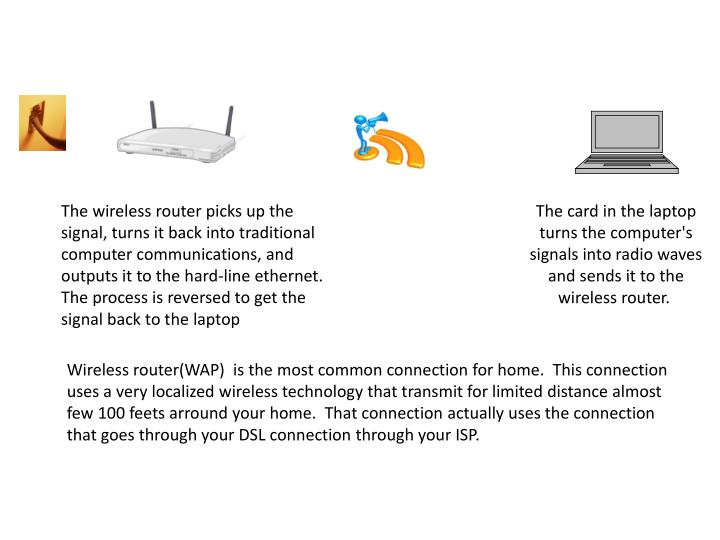 The wireless router picks up the signal, turns it back into traditional computer communications, and...