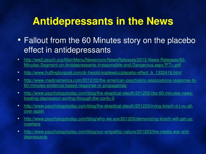 Antidepressants in the News