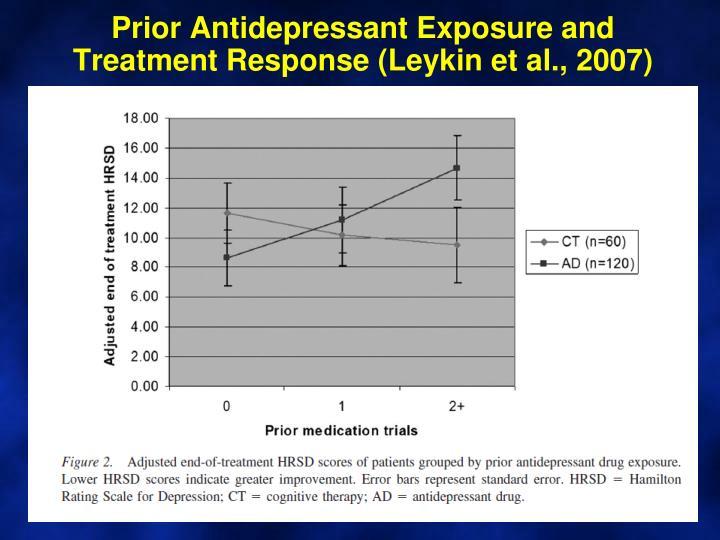 Prior Antidepressant Exposure and Treatment Response (
