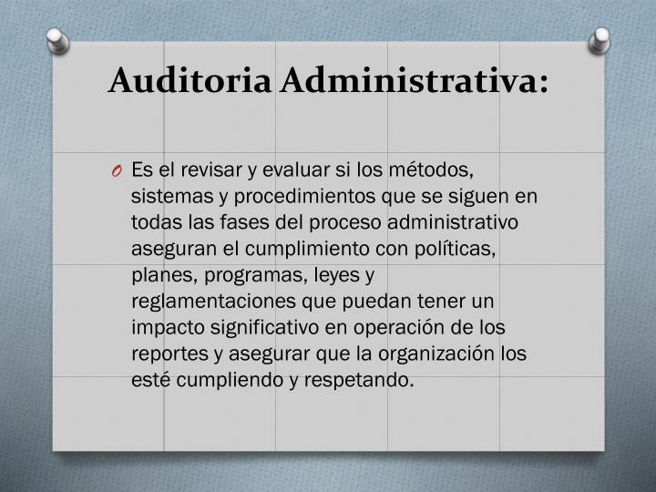 Auditoria Administrativa: