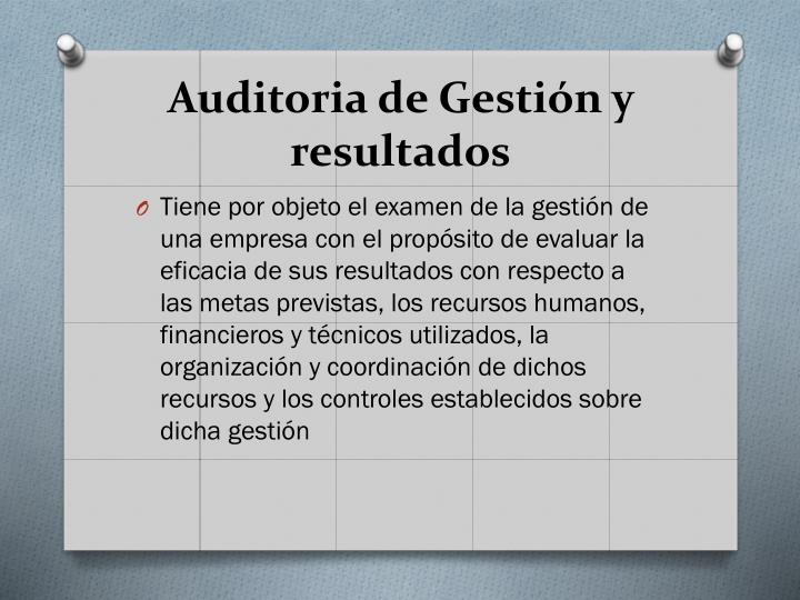 Auditoria de Gestión y resultados