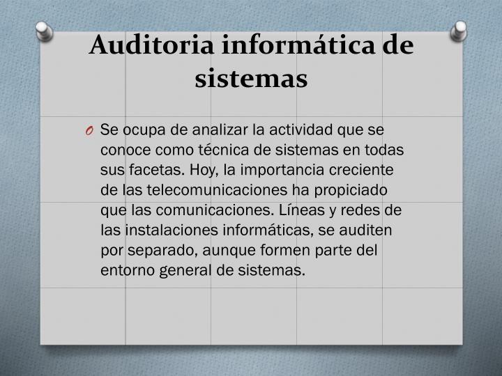 Auditoria informática de sistemas
