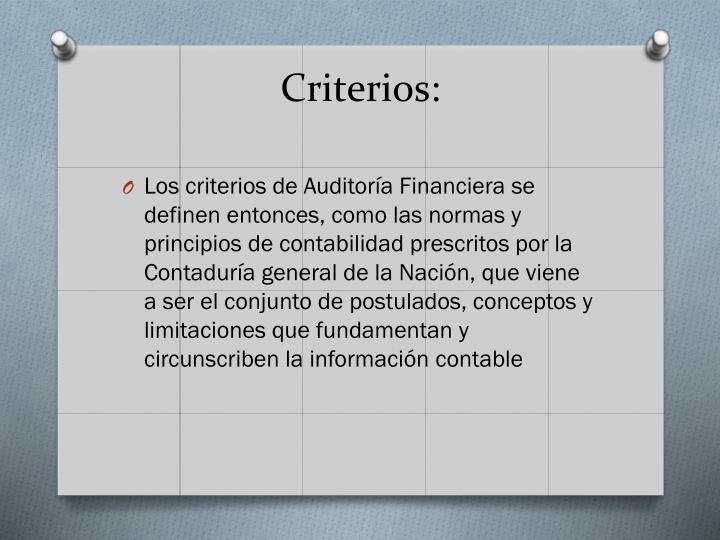 Criterios: