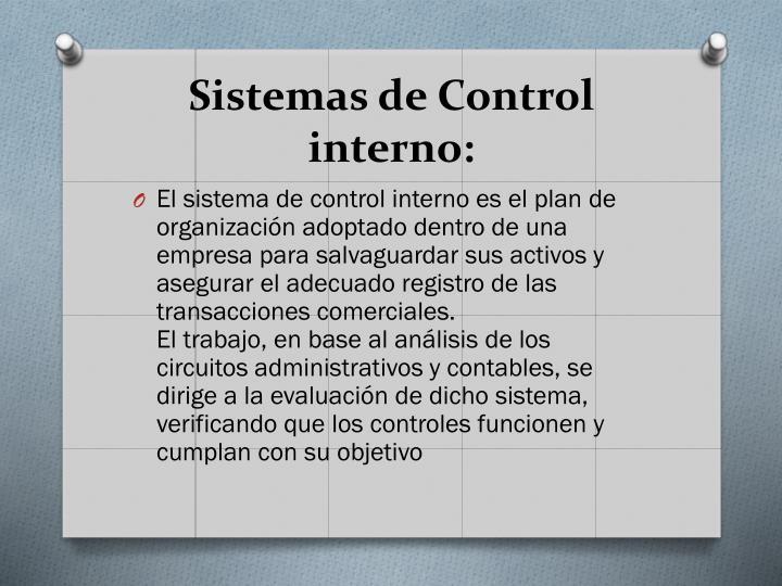 Sistemas de Control interno: