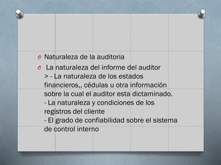 Naturaleza de la auditoria