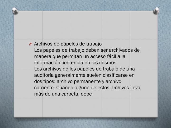 Archivos de papeles de trabajo