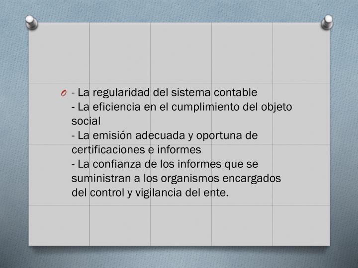 - La regularidad del sistema contable