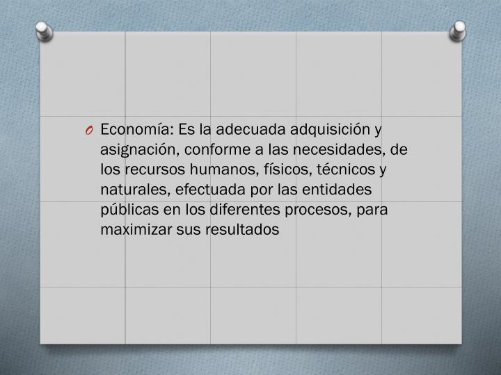 Economía: Es la adecuada adquisición y asignación, conforme a las necesidades, de los recursos humanos, físicos, técnicos y naturales, efectuada por las entidades públicas en los diferentes procesos, para maximizar sus resultados