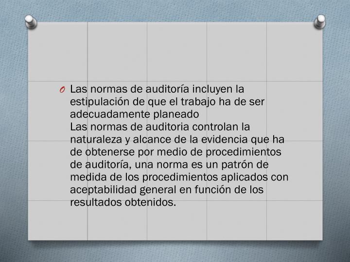 Las normas de auditora incluyen la estipulacin de que el trabajo ha de ser adecuadamente planeado