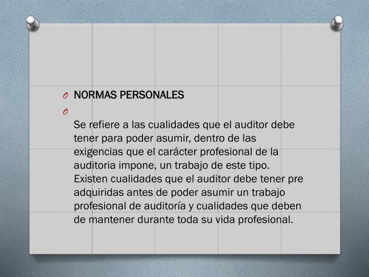 NORMAS PERSONALES