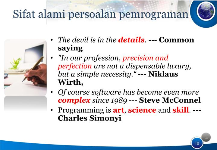 Sifat alami persoalan pemrograman