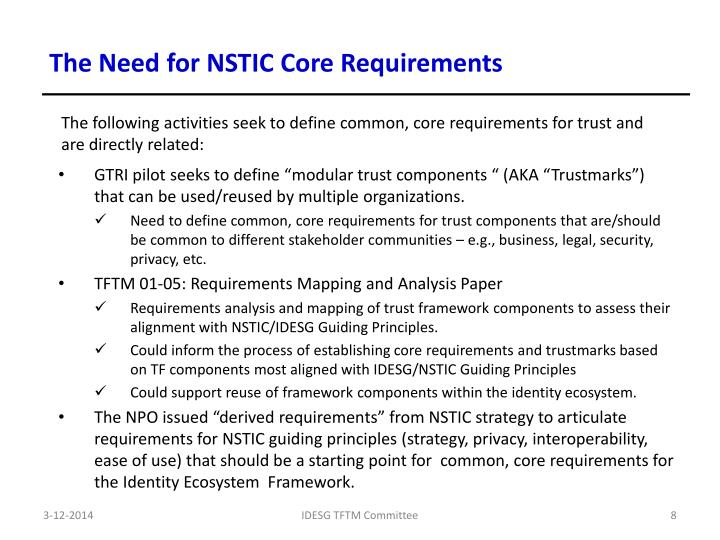 The Need for NSTIC Core Requirements