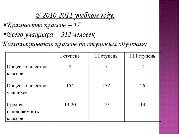 В 2010-2011 учебном году: