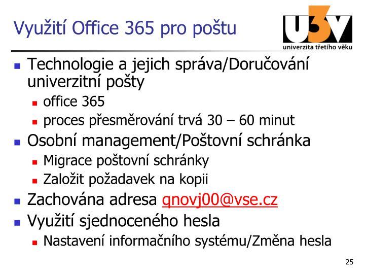 Využití Office 365 pro poštu