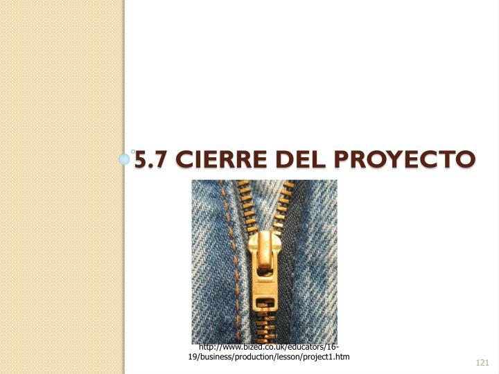 5.7 Cierre del proyecto