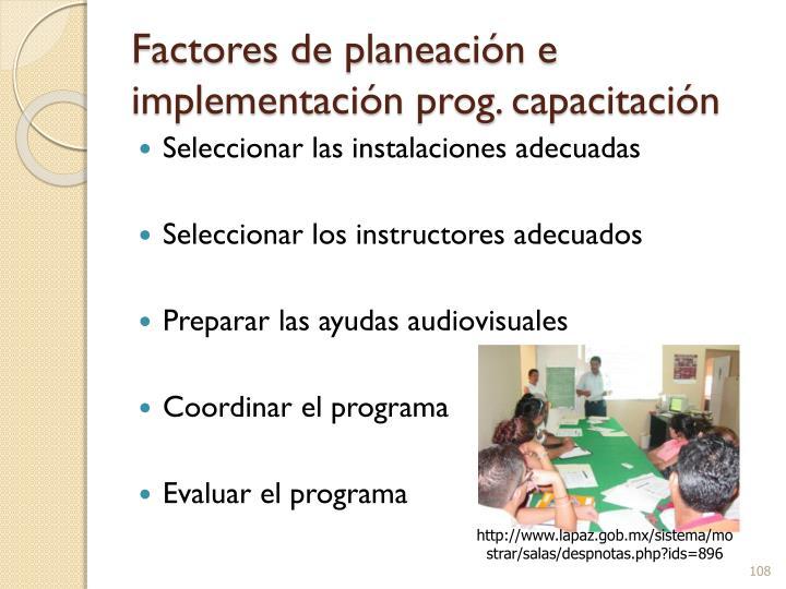 Factores de planeación e implementación