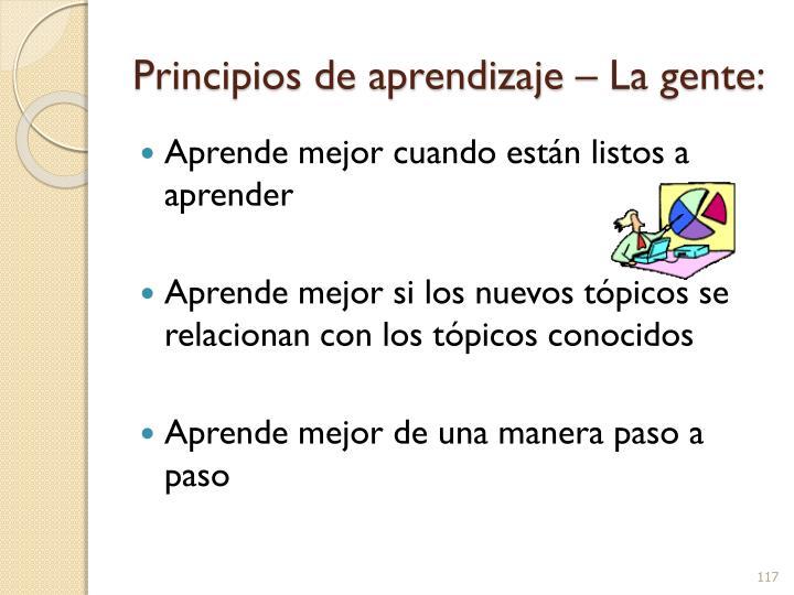 Principios de aprendizaje – La gente: