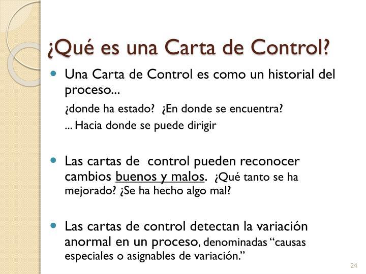 ¿Qué es una Carta de Control?