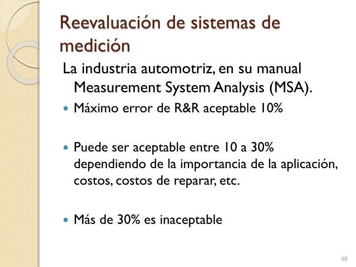 Reevaluación de sistemas de medición
