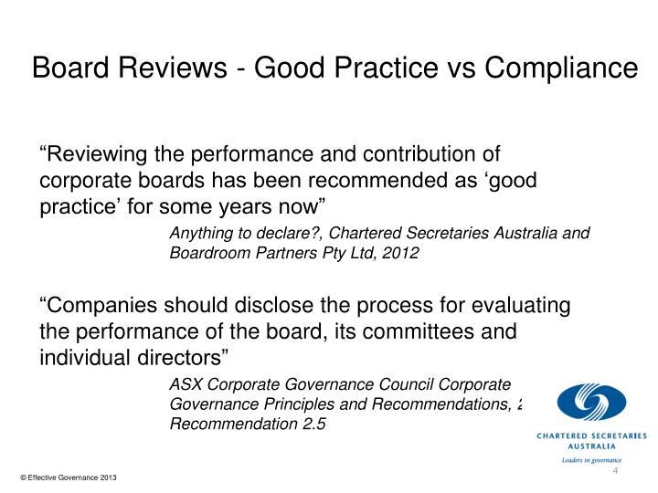 Board Reviews - Good Practice vs Compliance