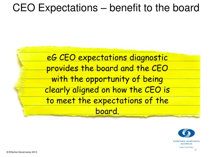 CEO Expectations – benefit to the board