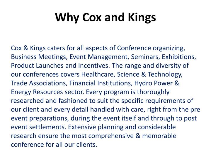 Why Cox and Kings