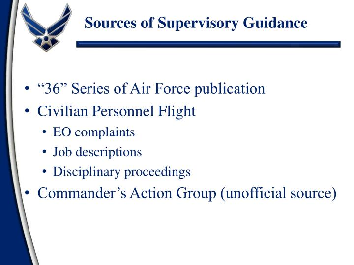 Sources of Supervisory Guidance