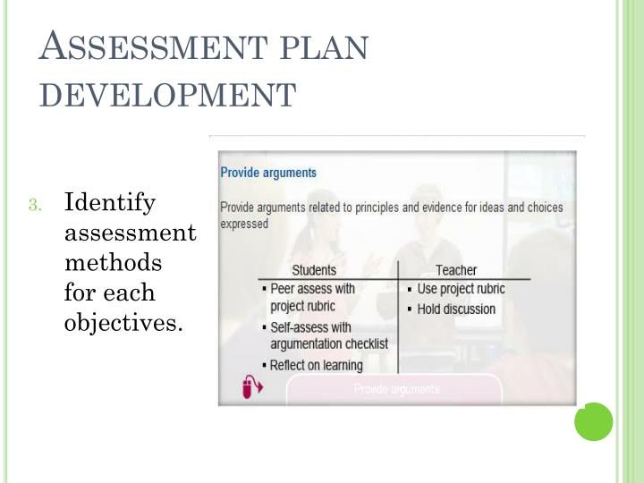 Assessment plan development