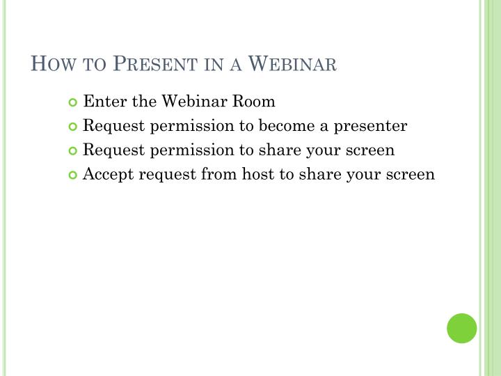 How to Present in a Webinar