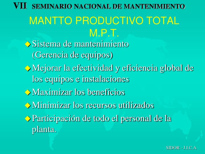 MANTTO PRODUCTIVO TOTAL