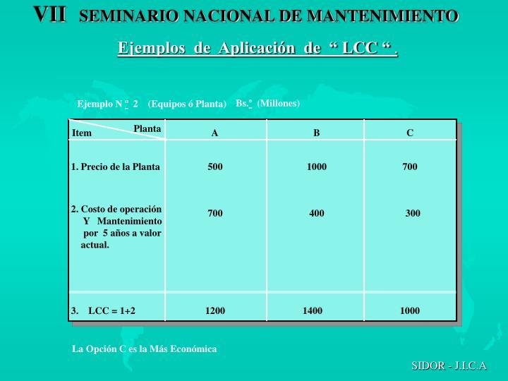 """Ejemplos  de  Aplicación  de  """" LCC """""""