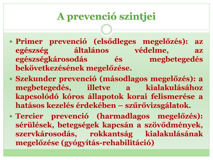 A prevenció szintjei