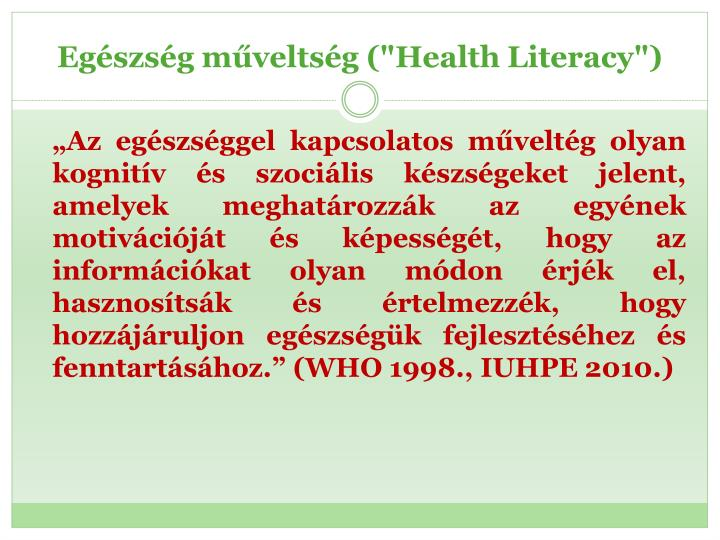 """Egészség műveltség (""""Health"""