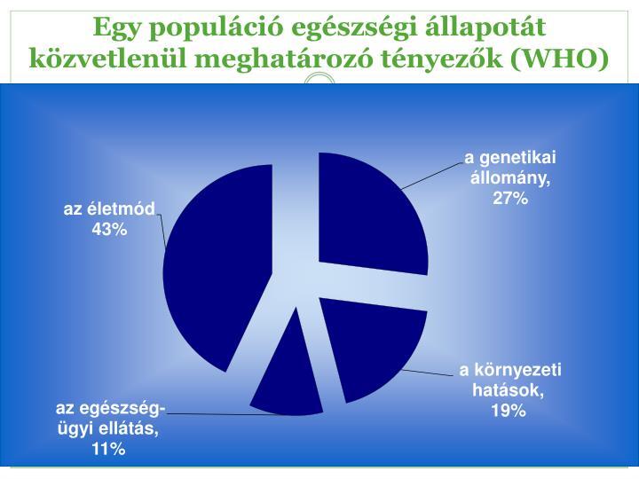 Egy populáció egészségi állapotát közvetlenül meghatározó tényezők (WHO)