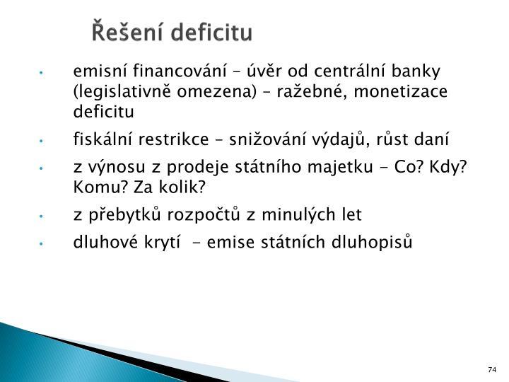 Řešení deficitu