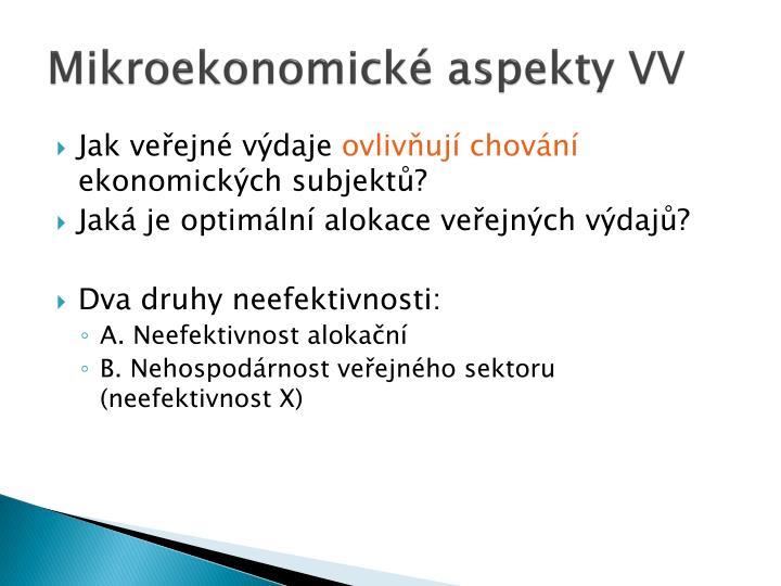 Mikroekonomické aspekty VV