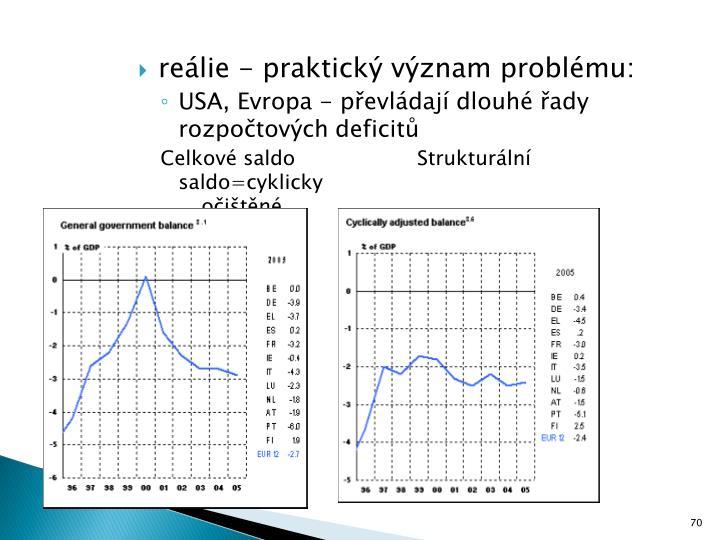 reálie - praktický význam problému: