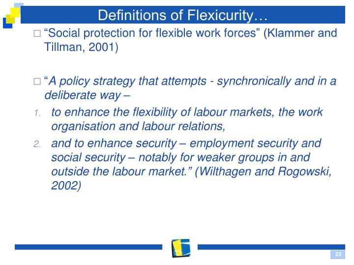 Definitions of Flexicurity…
