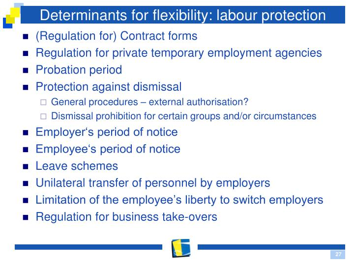 Determinants for flexibility: labour protection