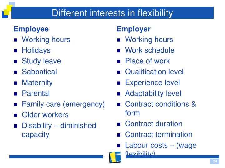 Different interests in flexibility