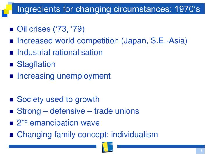 Ingredients for changing circumstances: 1970's