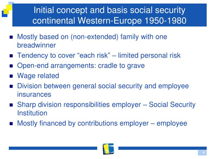 Initial concept and basis social security continental Western-Europe 1950-1980