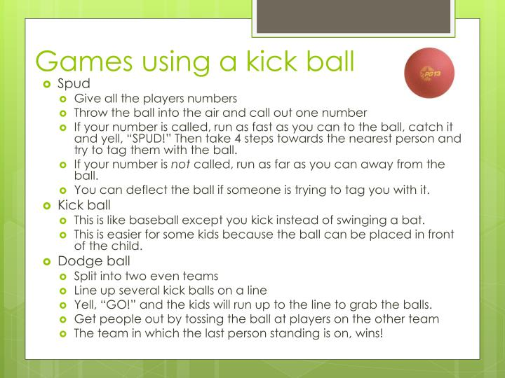 Games using a kick ball