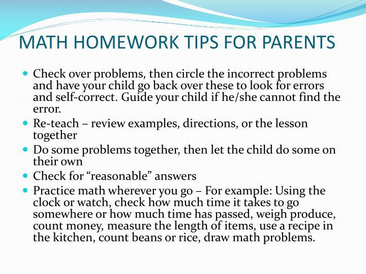 MATH HOMEWORK TIPS FOR PARENTS