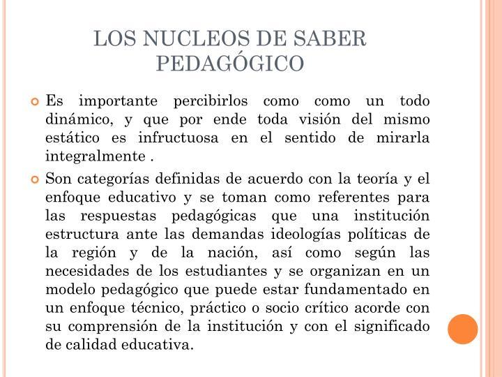 LOS NUCLEOS DE SABER PEDAGÓGICO