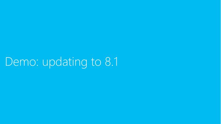 Demo: updating to 8.1